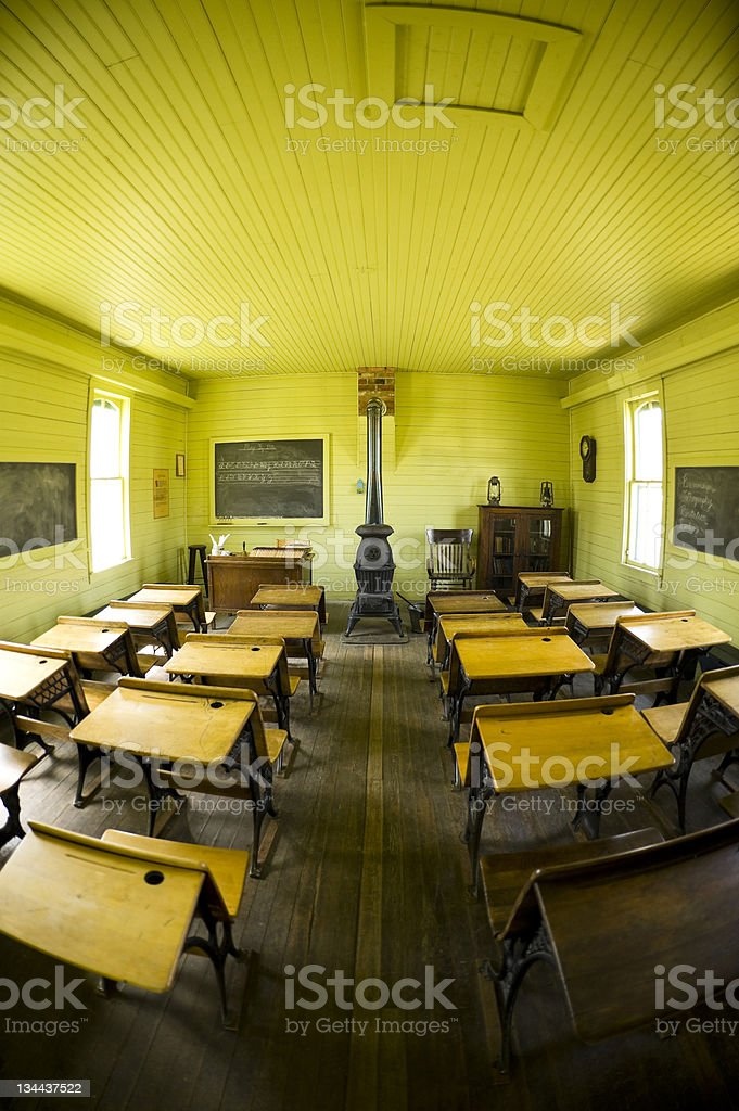 Early American Schoolroom in an Old Schoolhouse royalty-free stock photo