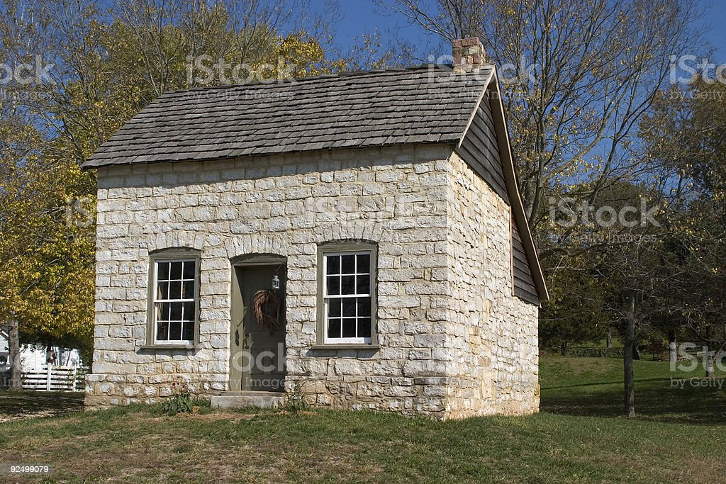 Early American Stone Cabin royalty-free stock photo