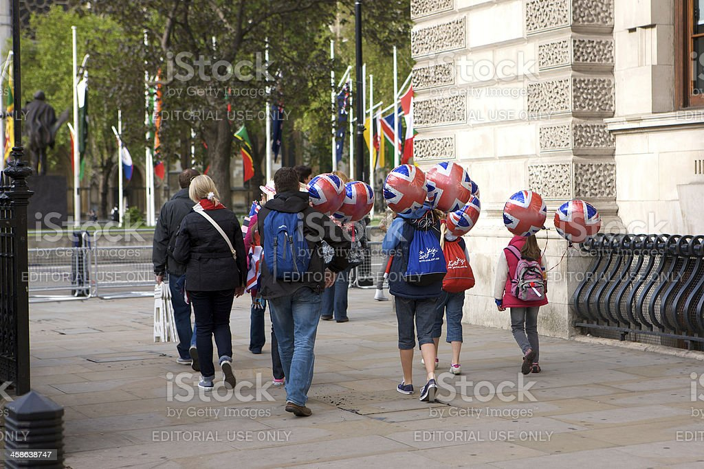Early arrivers for the Queen's Diamond Jubilee State procession royalty-free stock photo