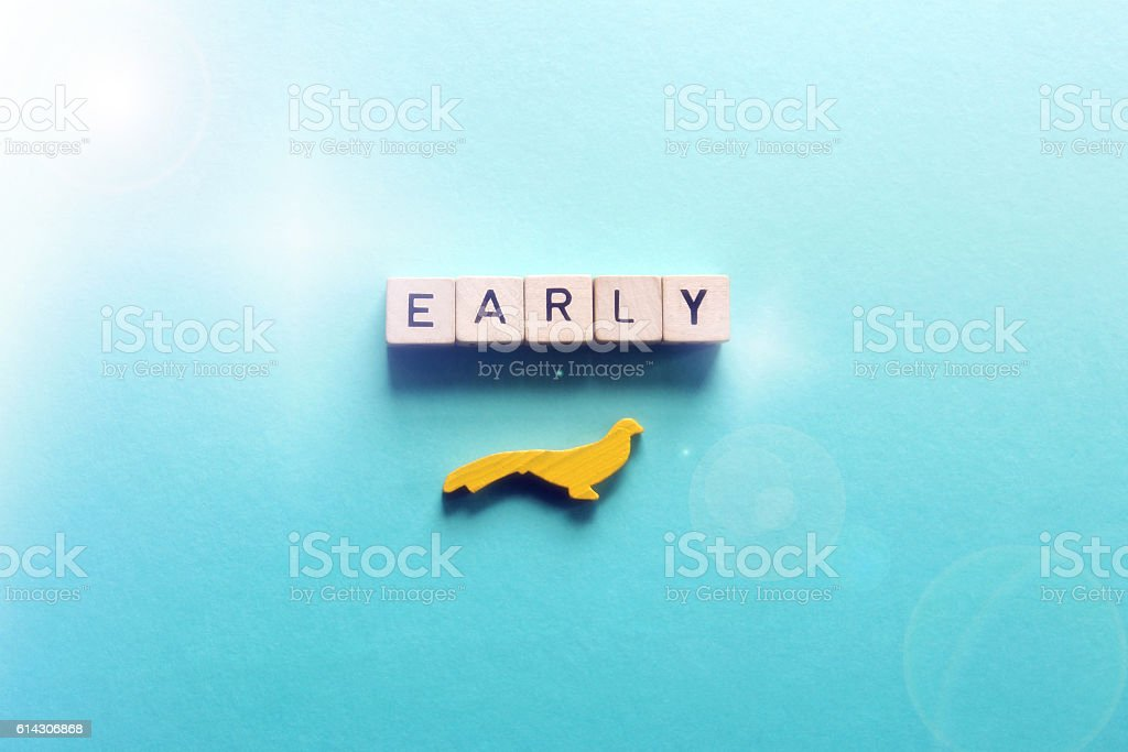 Early bird gets the worm stock photo