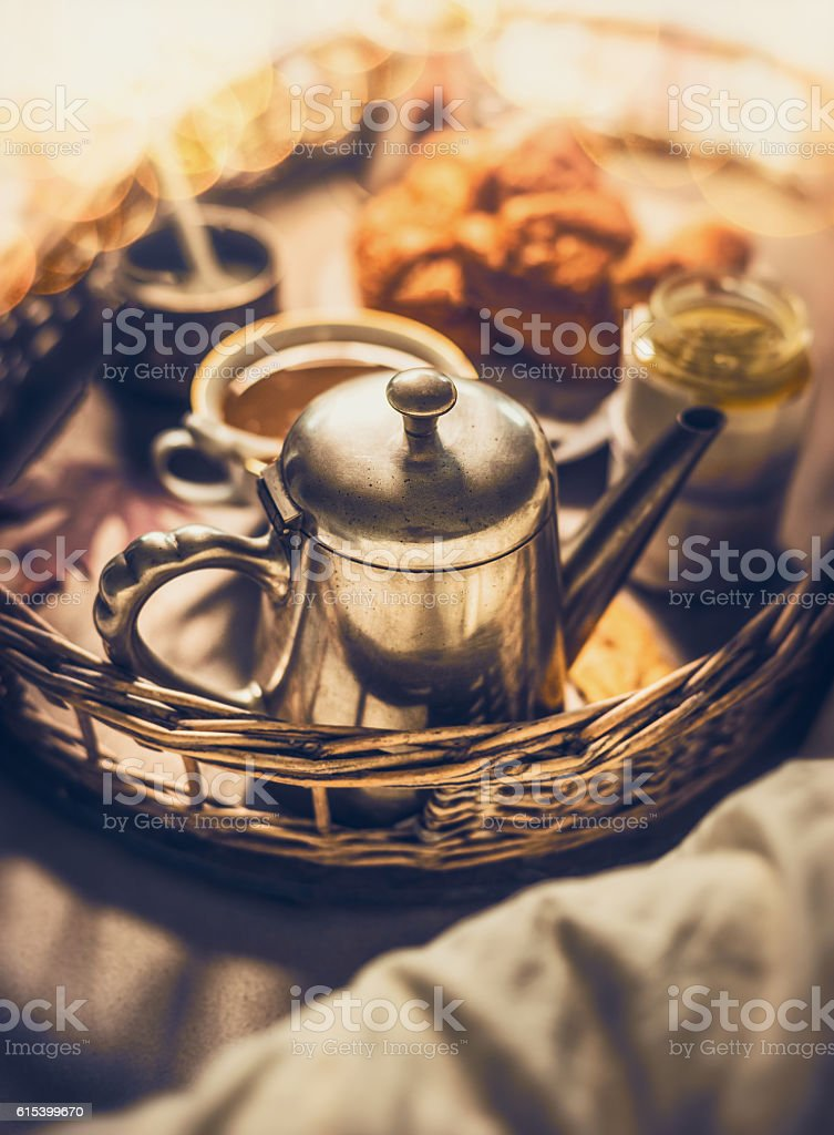 Early breakfast in bed, close up, selective focus stock photo