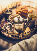 Early breakfast in bed, close up, selective focus