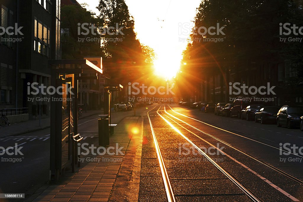 Early bus stop royalty-free stock photo