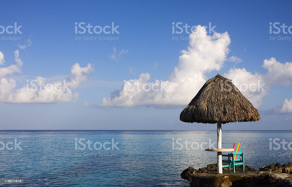 Early Caribbean morning with ocean view stock photo