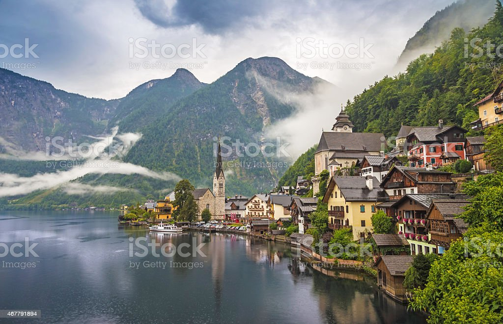 Early cloudy morning at the village of Hallstatt, Austria stock photo