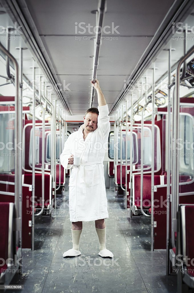 Early commuter on the Subway stock photo