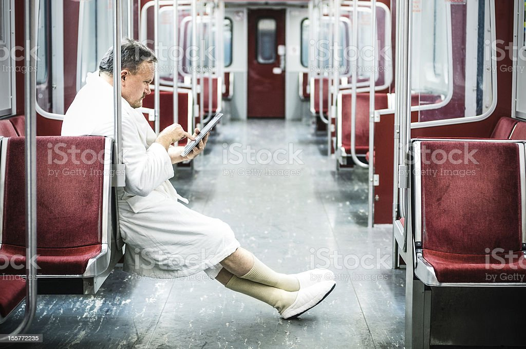 Early commuter on the train stock photo