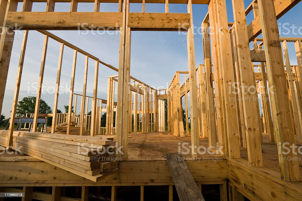 Early construction of a new home being built royalty-free stock photo