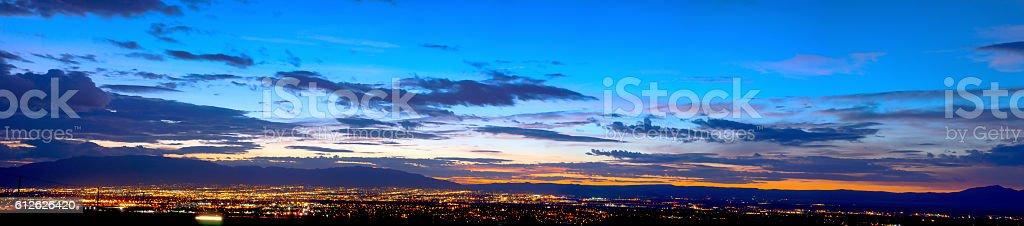 Early Dawn Panorama of Albuquerque, New Mexico stock photo