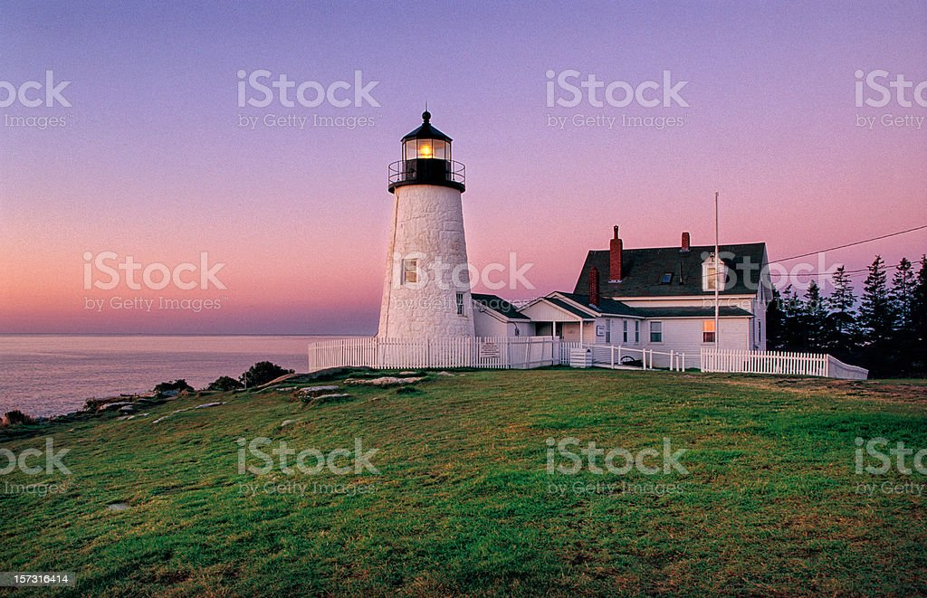Early dawn view of the lighthouse at Pemaquid Point royalty-free stock photo