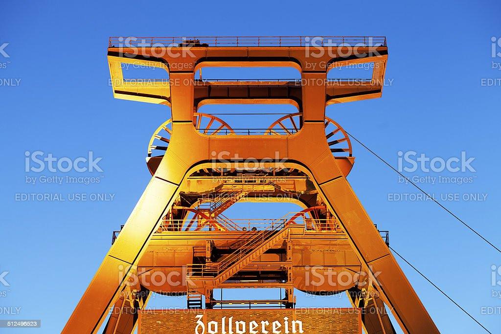 Early evening and night shot of Zeche Zollverein stock photo