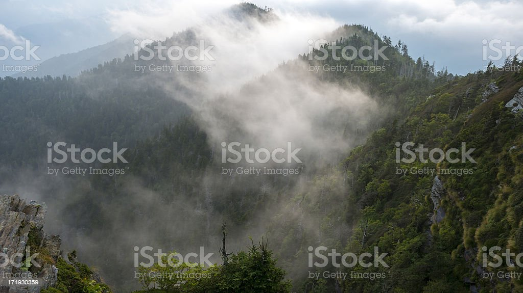 Clouds and mountains  in the Great Smoky Mountains National Park stock photo