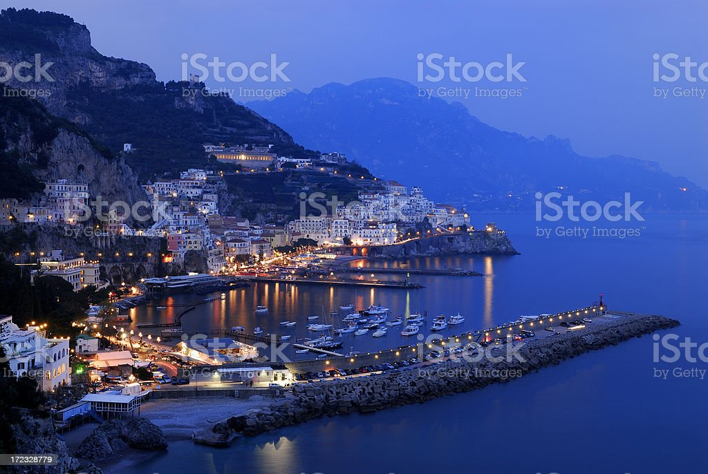 Early evening in Amalfi, Italy stock photo