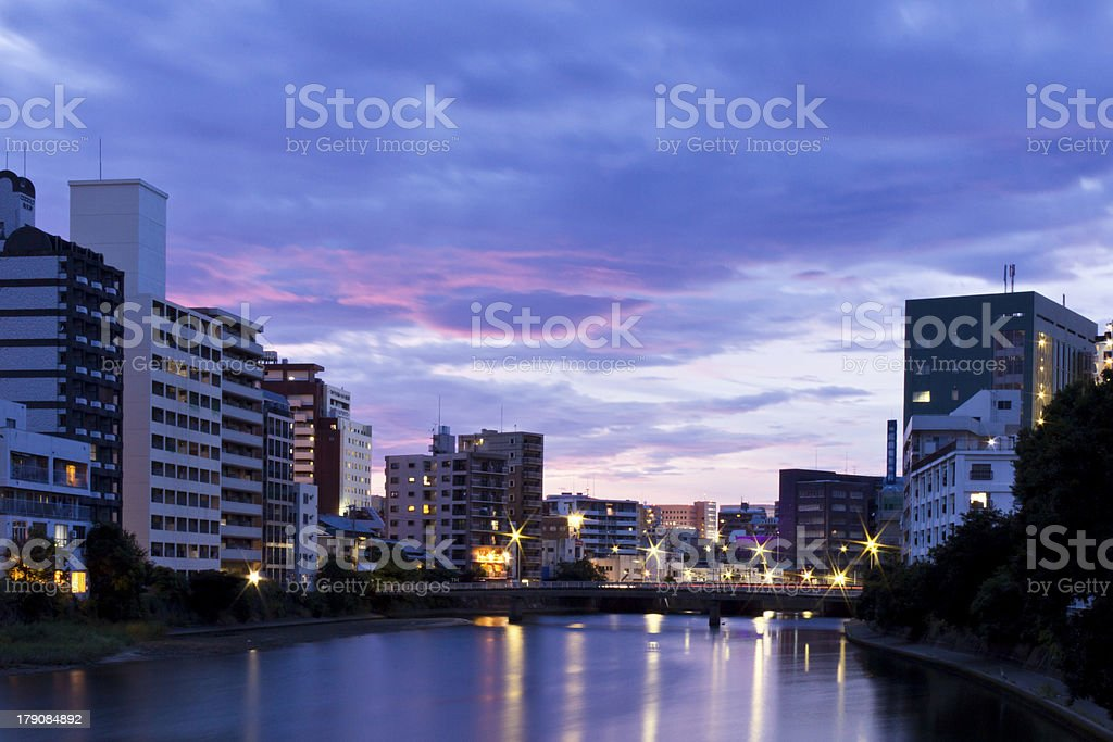 Early Evening on a Riverside City in Japan royalty-free stock photo