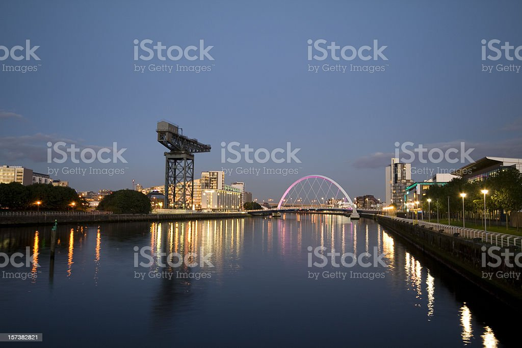 Early Evening on the River Clyde, Glasgow. stock photo