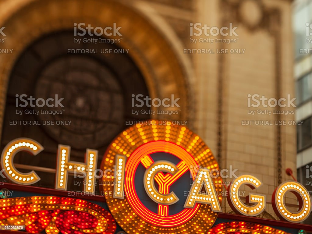 Early evening photo of the Chicago Theatre and sign stock photo