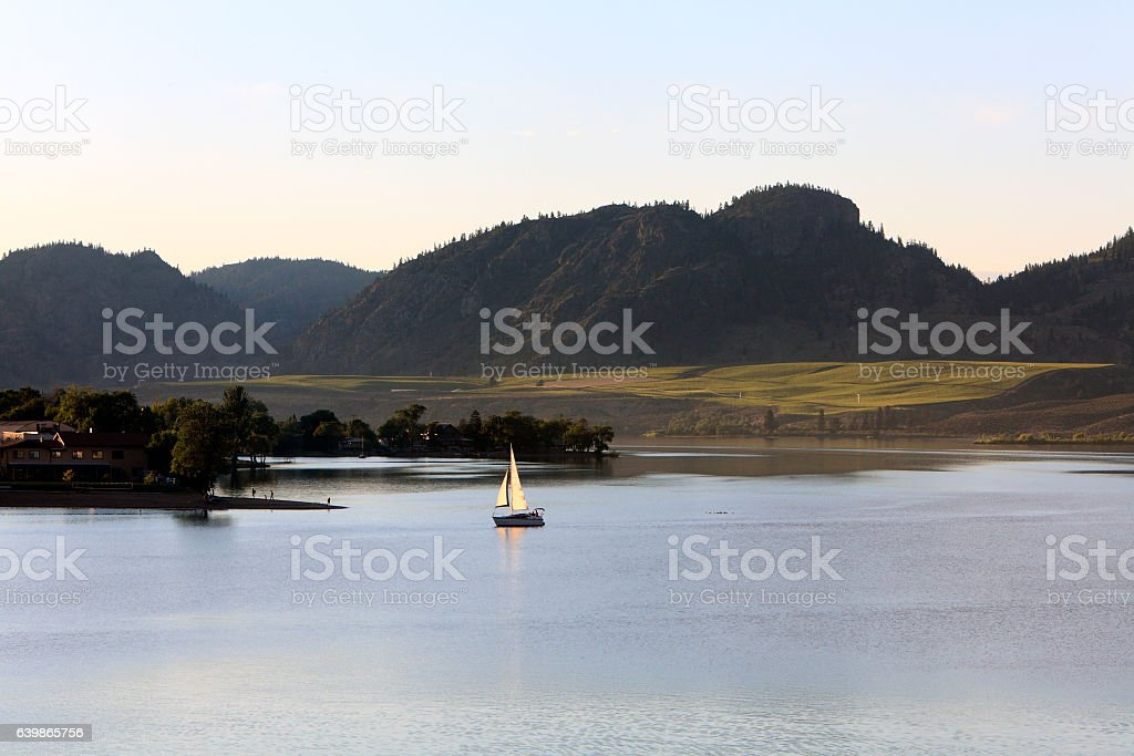 Early Evening Sail On Lake Osoyoos British Columbia stock photo