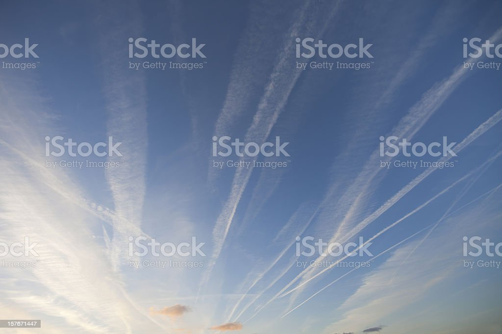 Early Evening Vapour Trails stock photo