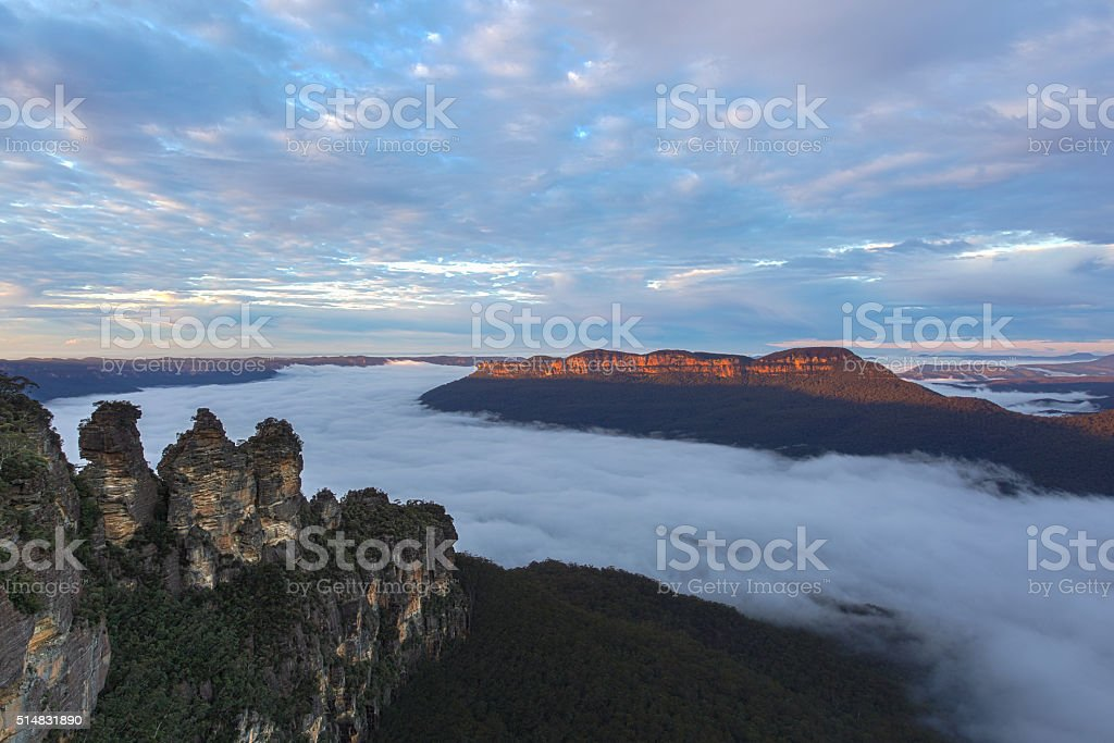 Early fog in the blue mountains stock photo