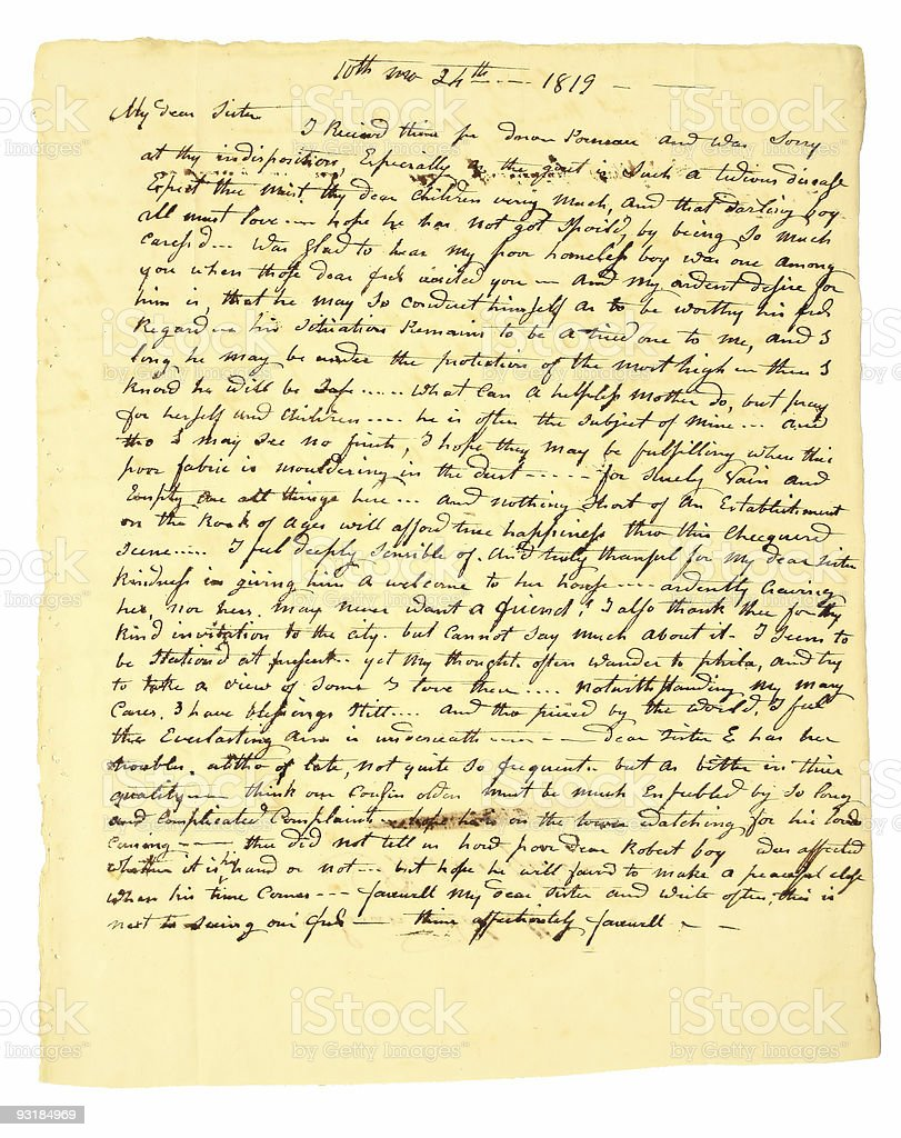 Early handwritten personal letter dated 1819. stock photo