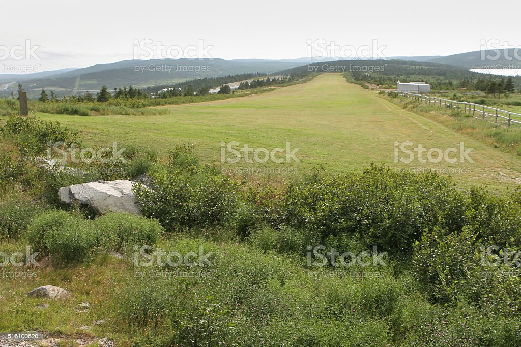 Early Harbour Grace Airfield grass runway Newfoundland Canada stock photo