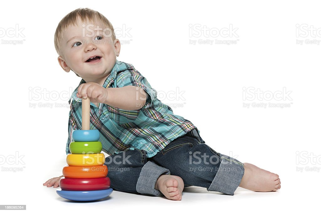 Early learning of a cute baby boy royalty-free stock photo