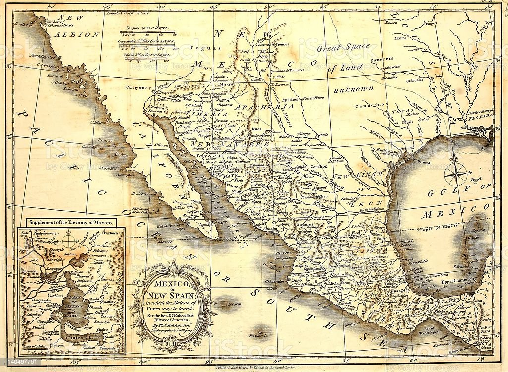 Early Map of Mexico, dated 1821. stock photo