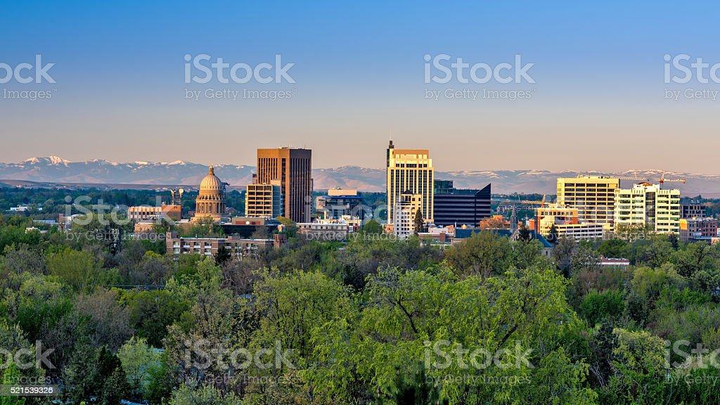 Early moring sinlight on the city of Boise Idaho stock photo