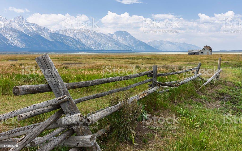 Early Mormon homestead, Jackson, Wyoming, USA. stock photo