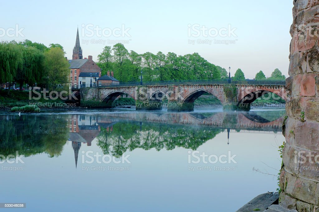 Early morning at Chester's Old Dee Bridge stock photo