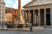 Early morning at Fountain Rotonda  and the Pantheon in  Rome