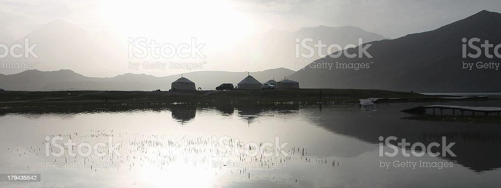 Wcześnie rano w Karakul Lake Pamiro Góry zbiór zdjęć royalty-free