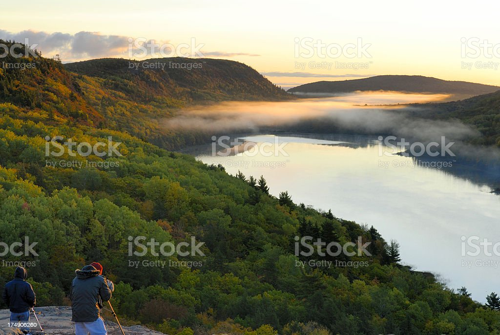 Early morning at Lake of the Clouds stock photo
