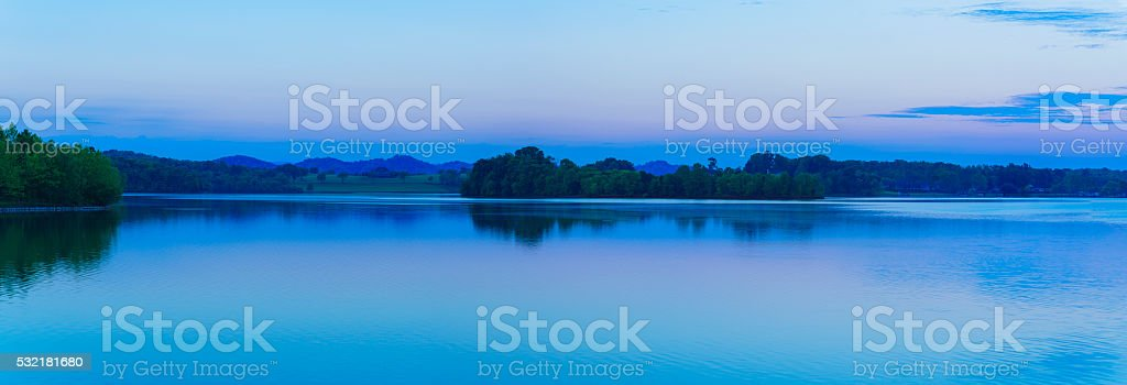 Early morning at Little Tennessee River, USA - XXXL Panorama stock photo