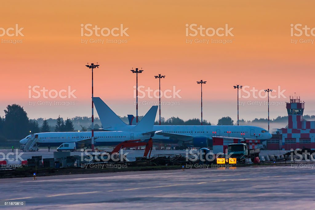 Early morning at the airport royalty-free stock photo