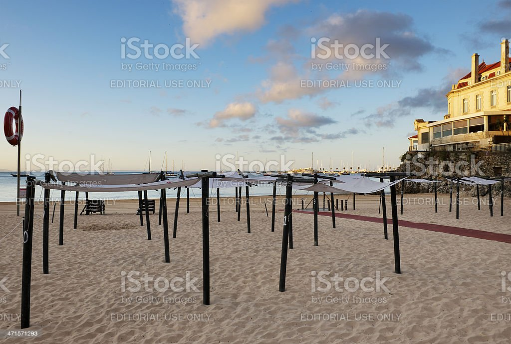 Early morning at the beach in Cascais, Portugal royalty-free stock photo