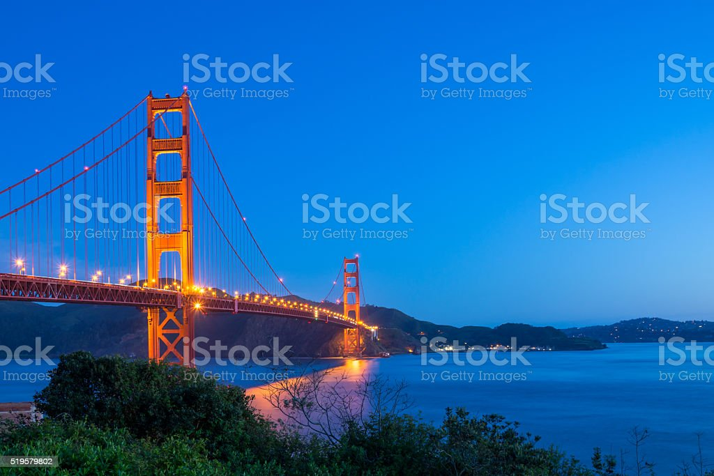 Early morning at the Golden Gate Bridge stock photo