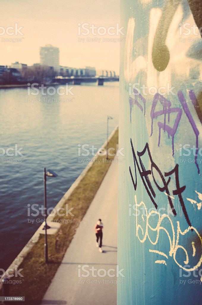 Early morning at the river - Frankfurt am Main stock photo