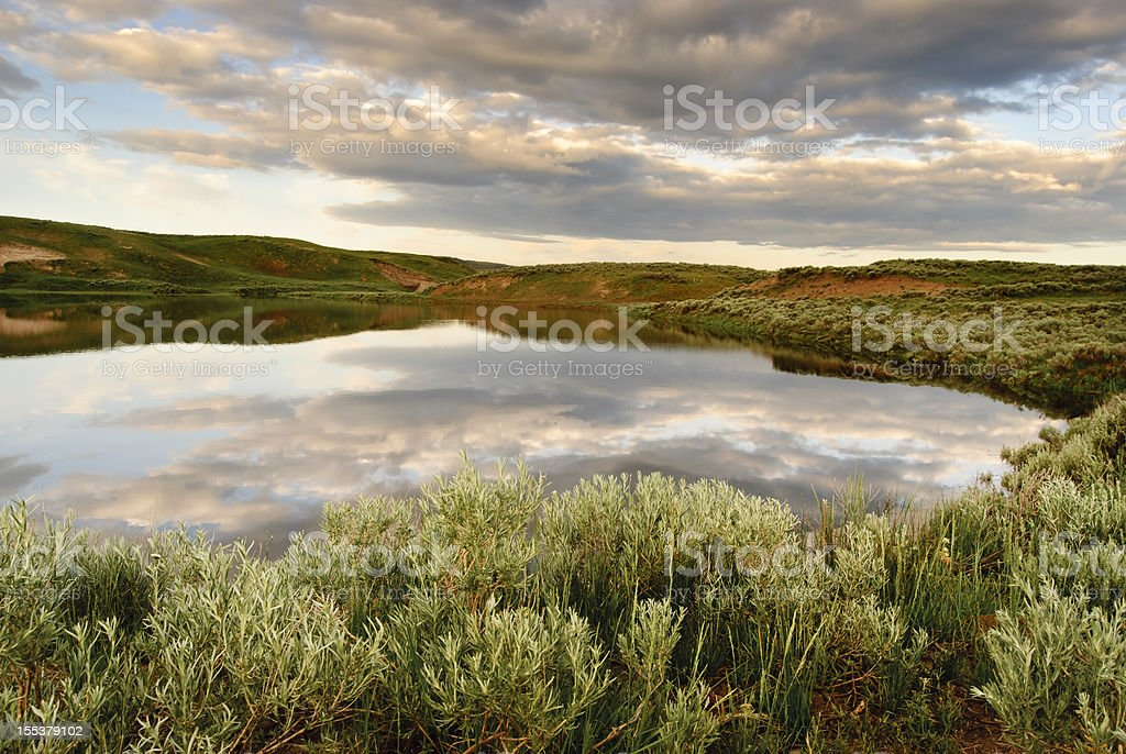 Early Morning at Yellowstone Pond royalty-free stock photo