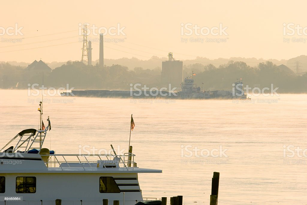 Early Morning Barge on the Ohio River stock photo