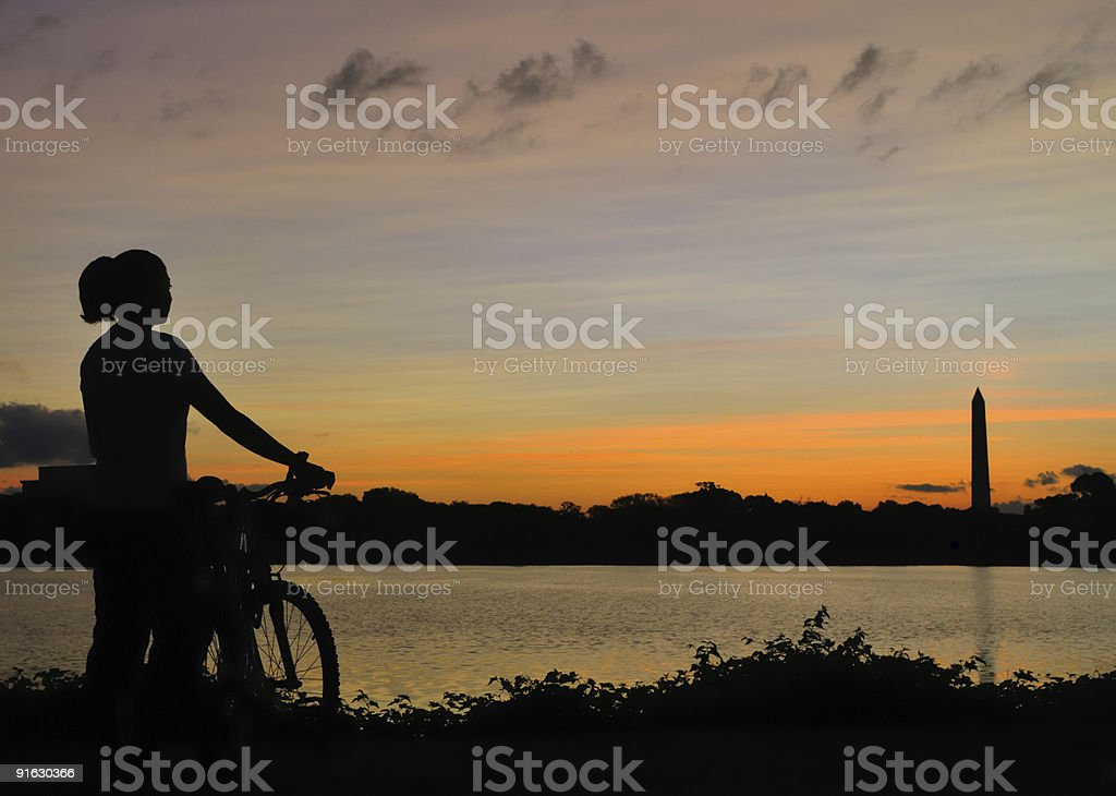 Early morning bike ride by the Potomac River stock photo