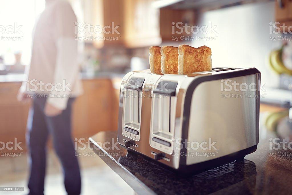 Early morning breakfast toast stock photo