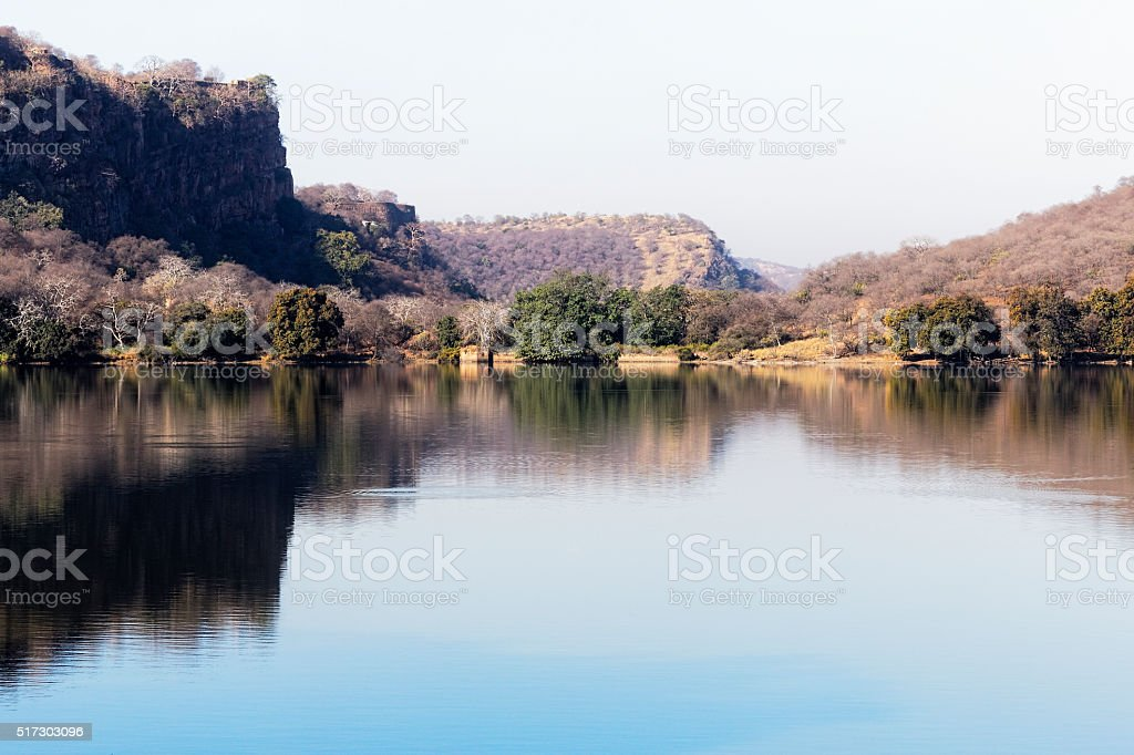 Early morning breeze creates ripples on the lake stock photo