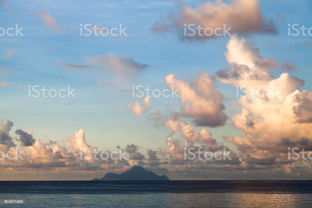 Early morning Caribbean seaside view of Saba stock photo