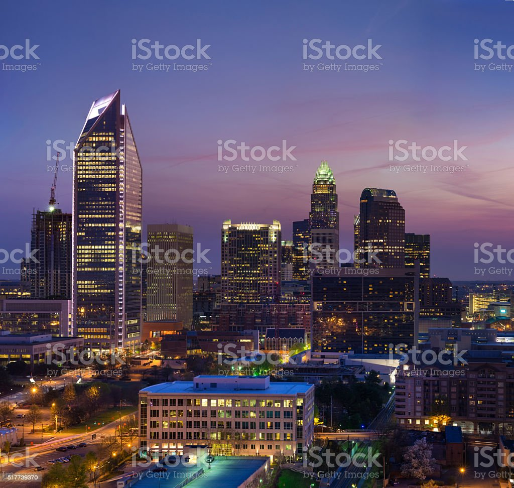 Early Morning Charlotte Skyline stock photo