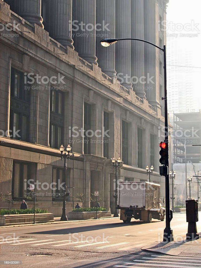 Early Morning City Delivery Truck royalty-free stock photo