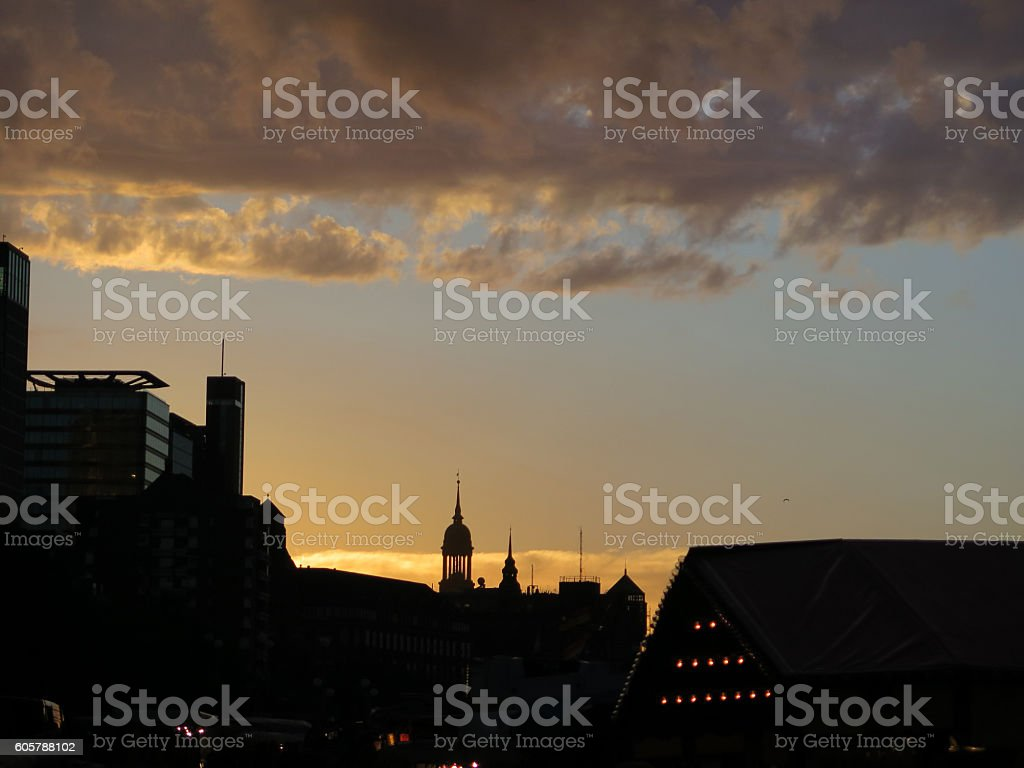 Early morning city silhouette stock photo