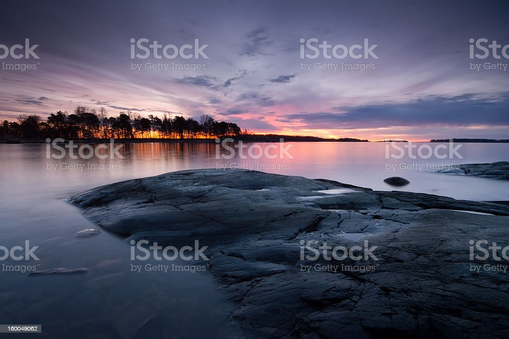 Early morning cloudy seascape royalty-free stock photo