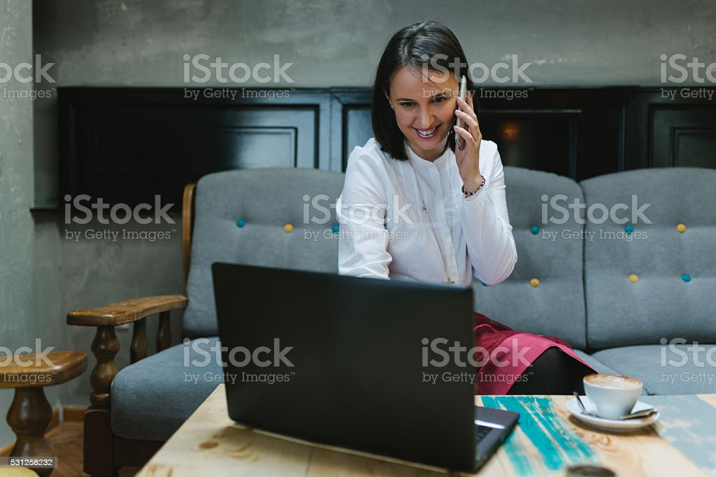 Early morning coffee with a smile stock photo