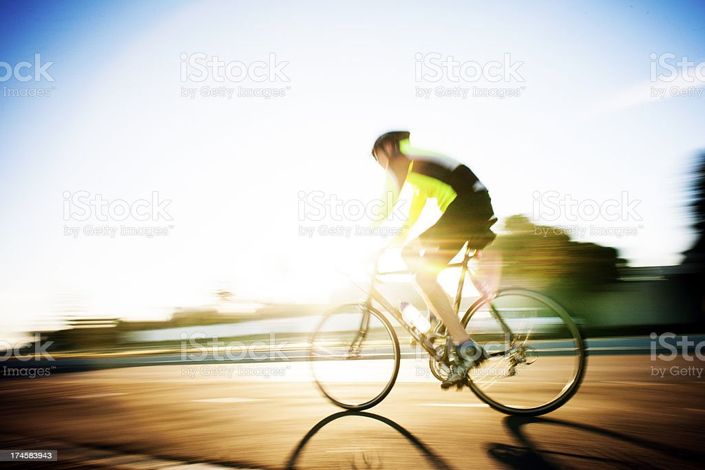 Early morning cycle stock photo